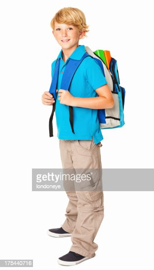 Schoolboy With His Rucksack - Isolated