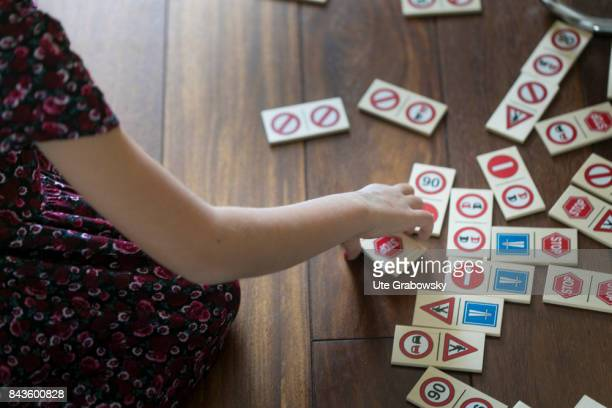 Schoolchild with a traffic domino on August 07 2017 in Bonn Germany