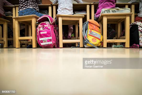 Schoolchildren are sitting at forms during lesson Beside them stand their school bags Feature at a school in Goerlitz on February 03 2017 in Goerlitz...