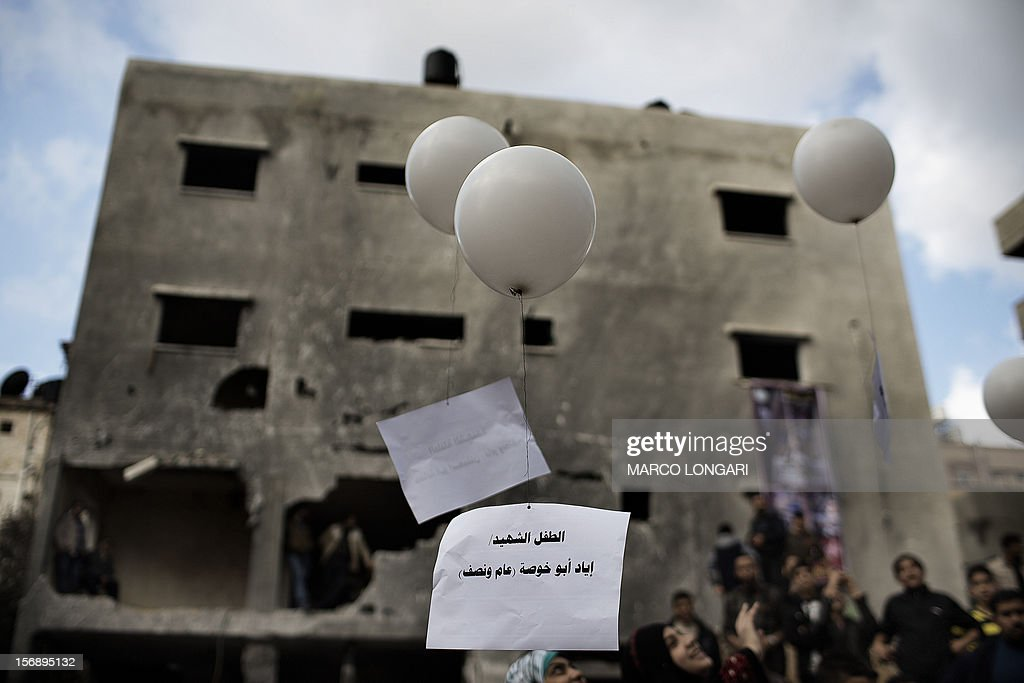 Schoolchildren let go air balloons at a commemoration ceremony for the young victims of the al-Dallu family, killed by an Israeli airstrike on their family house in Gaza City on November 24, 2012. An Israeli missile struck a three-story building in Gaza City on November 18, killing several members of the al-Dallu family - five of them children - and two of their neighbours.