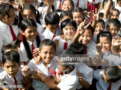 Schoolchildren (8-14) smiling, portrait, elevated view