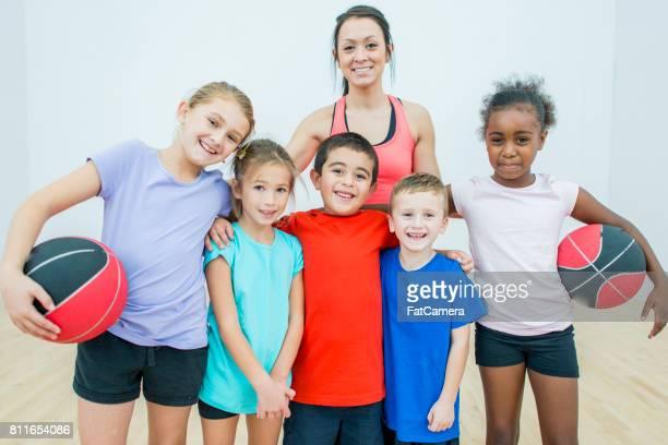 Schoolchildren With Their Gym Teacher