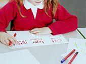 Schoolgirl (4-6) learning to write animal names, close-up