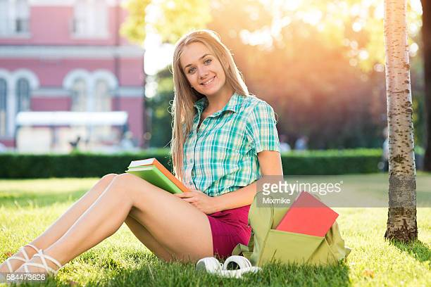 Schoolgirl studying in the campus
