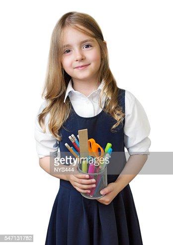 Schoolgirl with school supplies isolated. : Stock Photo
