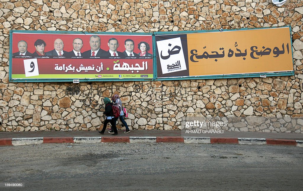 Schoolgirls walk past an election campaign poster of Israeli-Arab candidates running for the parliamentary elections in the Arab-Israeli town of Umm al-Fahm on January 14, 2013. Arab-Israelis, descendants of the 160,000 Palestinians who stayed on after the creation of Israel in 1948, make up 20 percent of the population.