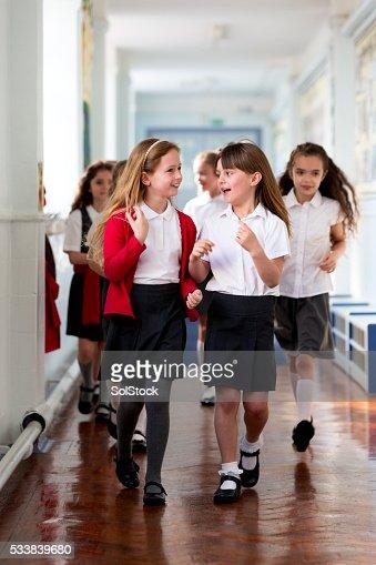 Schoolgirls Walking to Class