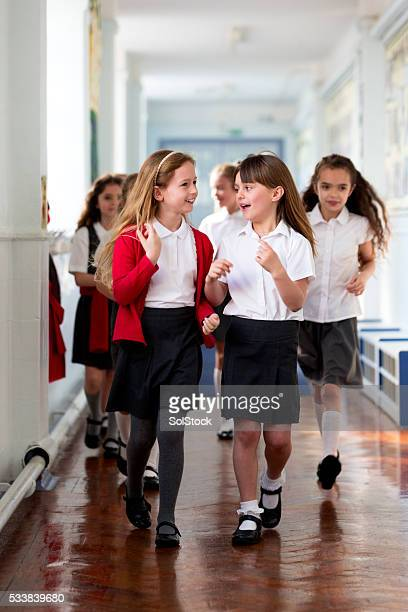 Schoolgirls Walking to Class