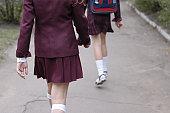 walking schoolgirls