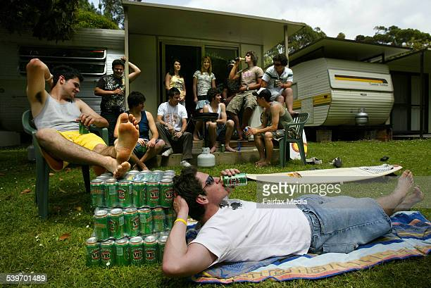 Schoolies from Collac College at a caravan park in Lorne looking forward to three weeks of partying 19 November 2005 THE SUNDAY AGE Picture by CRAIG...