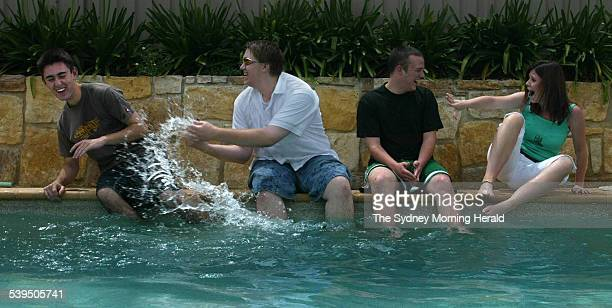 Schoolies Jared Hornby Michael Varga David Kerr and Amy Williams Gold Coast 19 November 2004 SMH Picture by JACKY GHOSSEIN