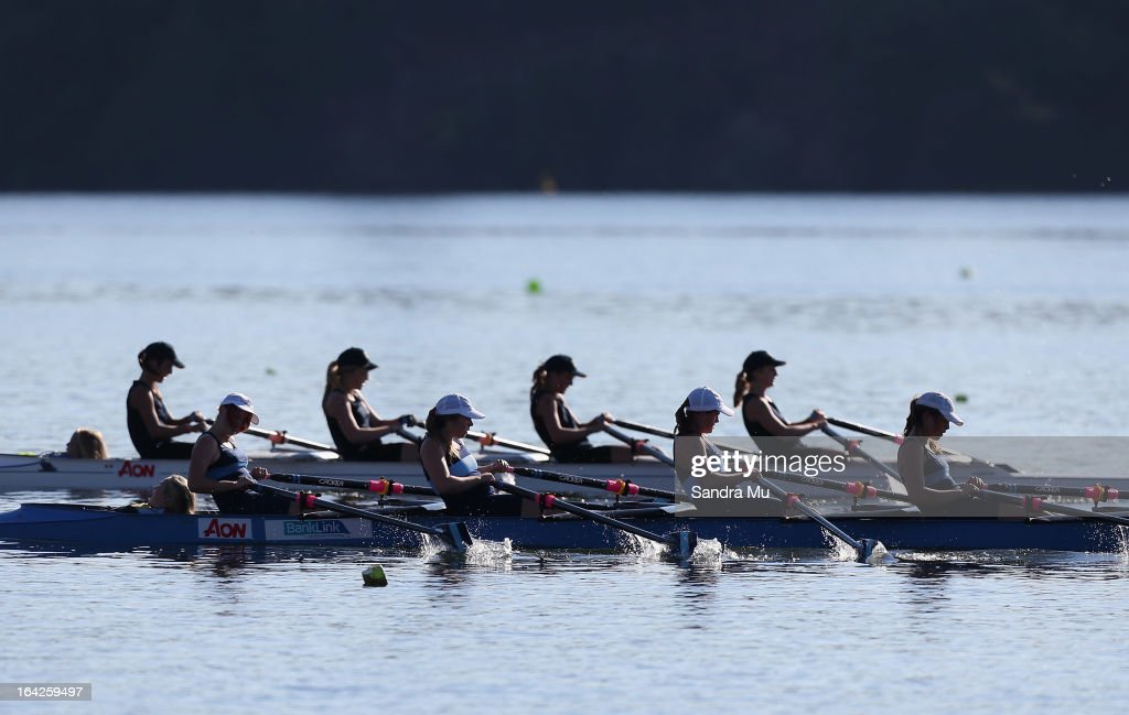 Schools compete in the girls U15 coxed quad final during day five of the Maadi Cup at Lake Karapiro on March 22, 2013 in Cambridge, New Zealand.