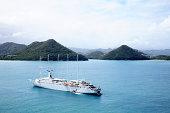 Schooner cruise ship in sea near st lucia