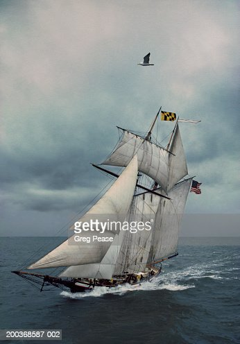 Schooner sailing in stormy sea (Digital Enhancement) : Stock Photo