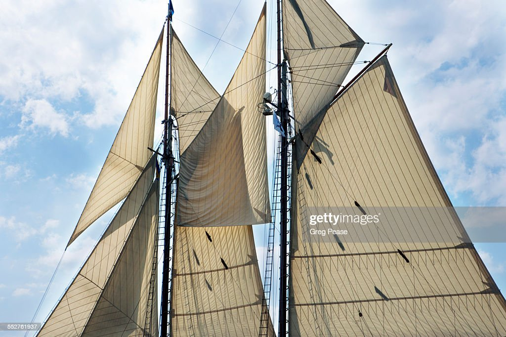 Schooner tall ship under full sail : Stock Photo