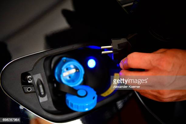 A schuko plug is shown at an AllCharge charging system during a media event by Continental to showcase new automotive technologies on June 20 2017 in...