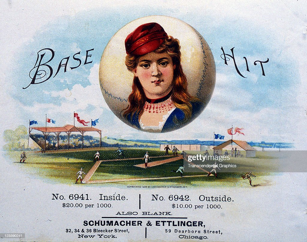 Schumacher & Ettinger lithographers create a woman ball player over a base ball scene to decorate the cigar label entitled Base Hit, printed 1880s in New York City.