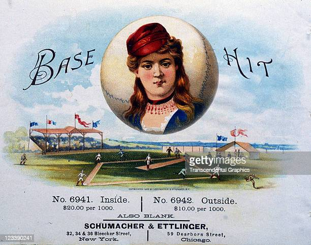 Schumacher Ettinger lithographers create a woman ball player over a base ball scene to decorate the cigar label entitled Base Hit printed 1880s in...