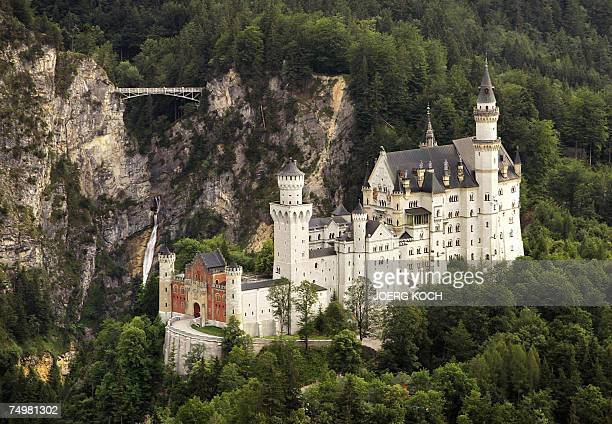 View taken 01 July 2007 from a plane shows the 'fairy tale' castle Neuschwanstein near Schwangau Bavaria The castle was rebuilt by the King of...