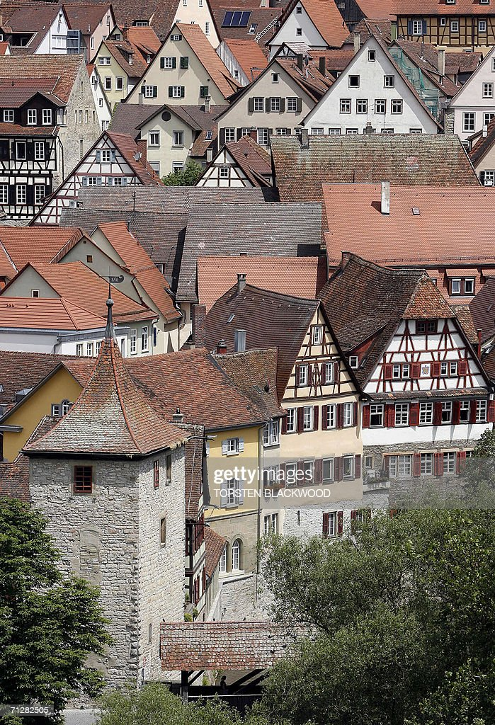 Halftimbered houses dating back to the 15th16th century line the labyrinthine streets of the historic city of Schwabisch Hall on the banks of the...