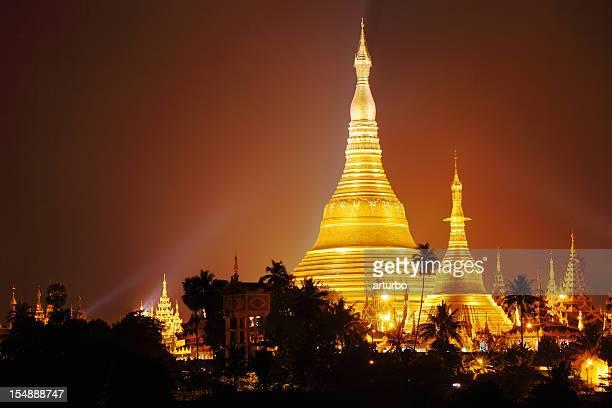 Schwedagon Pagoda at night