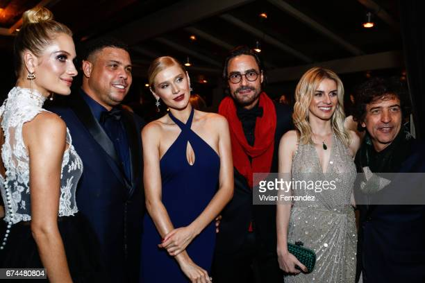 Schynaider Ronaldo Celina Locks Dinho Diniz Fran Siqueira and Ricardo Almeira attends 2016 amfAR Inspiration Gala on April 27 2017 in Sao Paulo Brazil