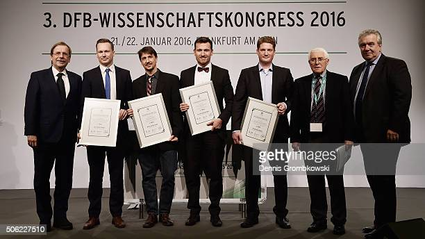 Science Award winner Florian Schultz Oliver Faude Christian Strieder and Michael Keiner pose with Rainer Koch Senior Vice President Deutscher...
