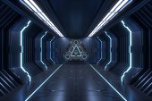 Science background fiction interior rendering sci-fi spaceship corridors blue light,3D rendering