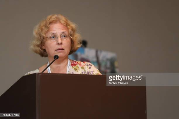Science director research centre for TB Minsk Belarus Dr Alena Skrahina speaks during the TB Alliance Stakeholders Association Annual Meeting at the...