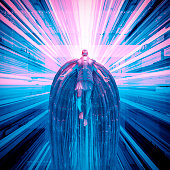 3D illustration of futuristic angel floating in technological space