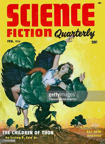 Science Fiction Quarterly magazine features a womaneating plant image on the February 1954 issue published in New York City