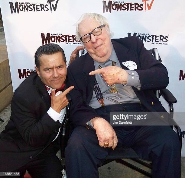 Science Fiction writer Ray Bradbury and artist Robert Aragon pose for a portrait at the Carla Laemmle 100th birthday party at the Egyptian Theatre in...