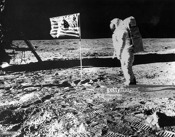 Science Space Exploration 20th July 1969 USastronaut Buzz Aldrin born 1930 salutes the American flag on the moons surface Aldrin was the second man...