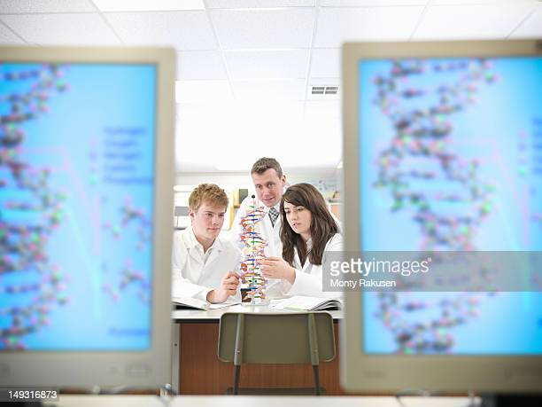 Science students working with DNA model in school laboratory
