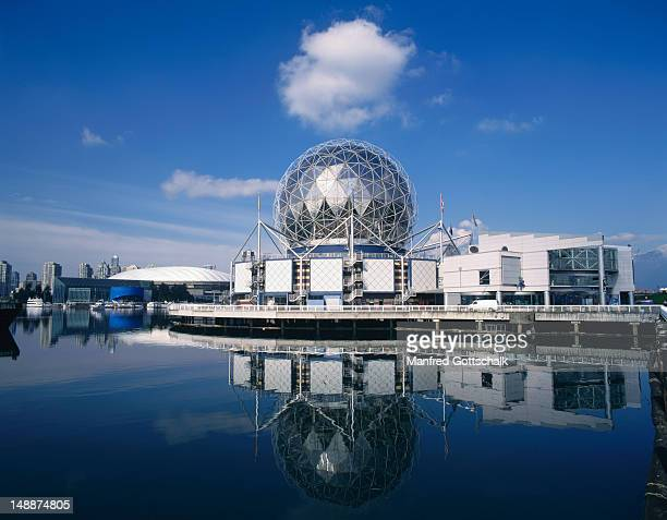 Science World with geodesic dome reflected in False Creek.