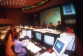 Scientific staff at the Control Center oversees the flight of Russian spacecraft Soyuz TM14 on its way to the MIR space station on March 17 in Moscow...