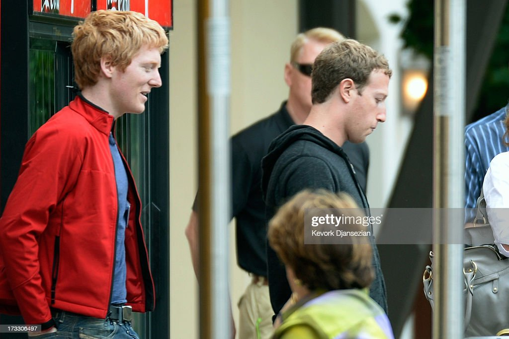 Scientist and entrepreneur Patrick Collison (L) follows Mark Zuckerberg, chairman and chief executive of Facebook, as they head out to lunch during the Allen & Co. annual conference at the Sun Valley Resort on July 11, 2013 in Sun Valley, Idaho. The resort is hosting corporate leaders for the 31st annual Allen & Co. media and technology conference where some of the wealthiest and most powerful executives in media, finance, politics and tech gather for weeklong meetings. Past attendees included Warren Buffett, Bill Gates and Mark Zuckerberg.