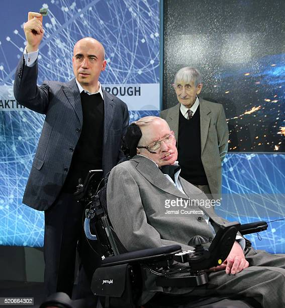 Scientist and investor Yuri Milner holds up a prototype of the 'Star Chip' a small robotic space craft that will enable intersteller space travel as...