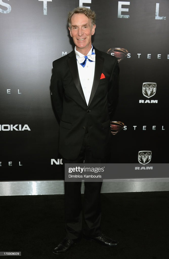 Scientist <a gi-track='captionPersonalityLinkClicked' href=/galleries/search?phrase=Bill+Nye&family=editorial&specificpeople=1016855 ng-click='$event.stopPropagation()'>Bill Nye</a> attends the 'Man Of Steel' world premiere at Alice Tully Hall at Lincoln Center on June 10, 2013 in New York City.