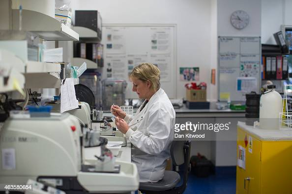 A scientist cuts thin sections from a tissue biopsy that has been preserved in wax to be then placed on microscope slides for analysis at the Cancer...