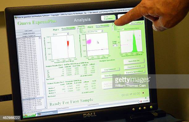 Scientist Dr Kamel Khalili points to a monitor with data that shows an HIV infected cell July 31 2014 at Temple University Hospital in Philadelphia...
