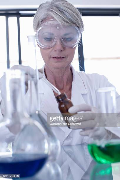 Scientist dropping liquid into bottle