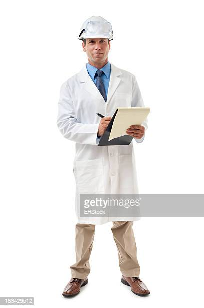 Scientist Engineer with Clipboard Isolated on White Background