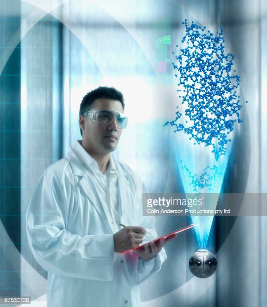 Scientist examining hologram of DNA chains