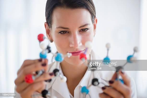 Scientist examining molecular model