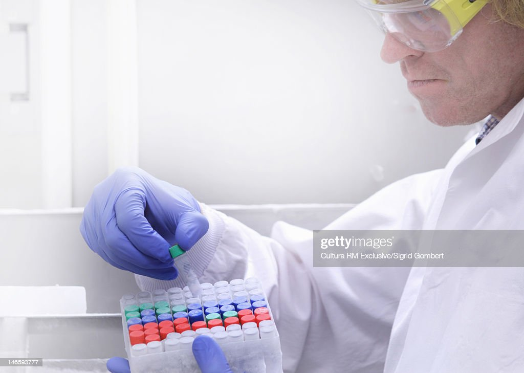 Scientist examining tubes in lab : Stock Photo