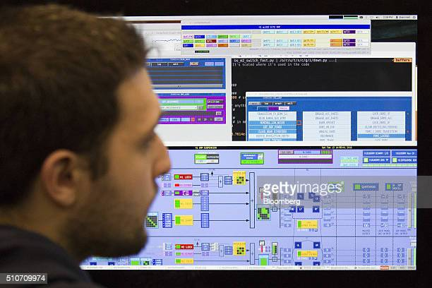 A scientist from the California Institute of Technology or Caltech works in the control room of the Laser Interferometer GravitationalWave...