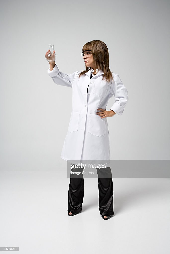 Scientist holding flask
