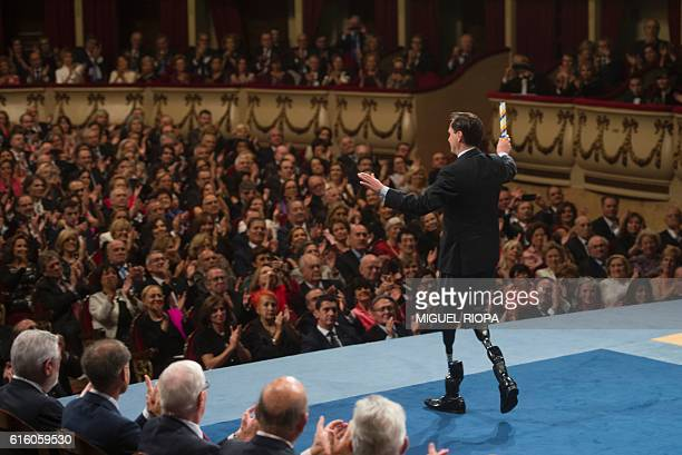 Scientist Hugh Herr acknowledges the public from the stage after receiving the 2016 Princess of Asturias Award for Technical and Scientific Research...