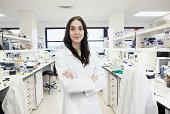 Scientist in bioscience laboratory